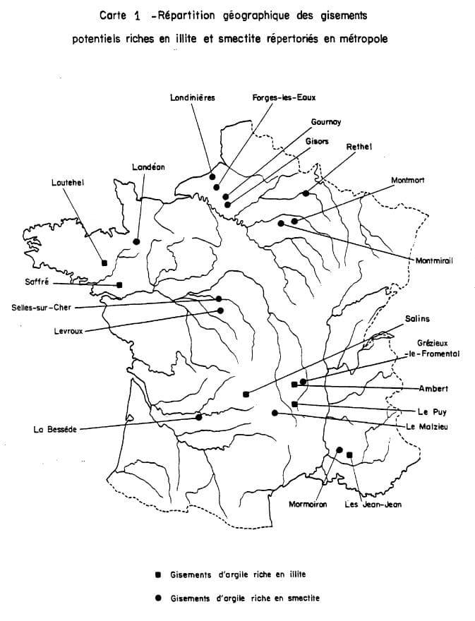 Carte des gisements argileux infoterre.brgm.fr
